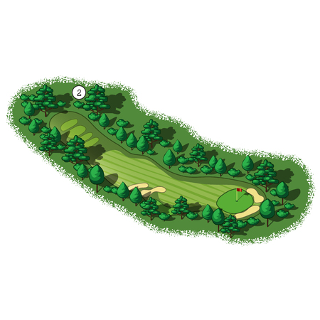 putting green: Golf course layout with trees and plants around Illustration