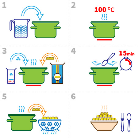 Cooking pasta infographics. Step by step recipe infographic for cooking pasta. Vector illustration italian cuisine Vettoriali