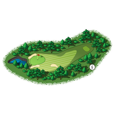 course: Golf course layout with water hazard and trees and plants around