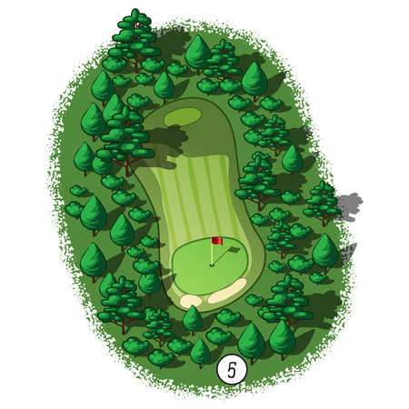 Golf course layout with trees and plants around Vectores