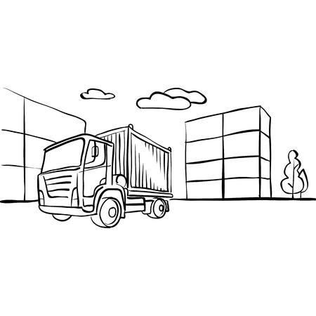 motor de carro: Camión con carga. Vehículo Resumen entregar bienes