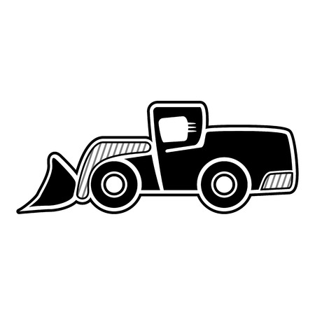 earth mover: Classic front loader symbol. Isolated black icon Illustration