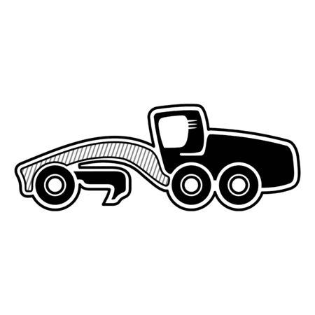 Symbole de la niveleuse Classic. Niveleuse isolée icône noire