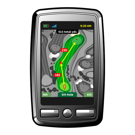 Abstract gps golf device