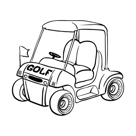 gasoline powered: Abstract isolated vector golf cart. Line black and white sketch