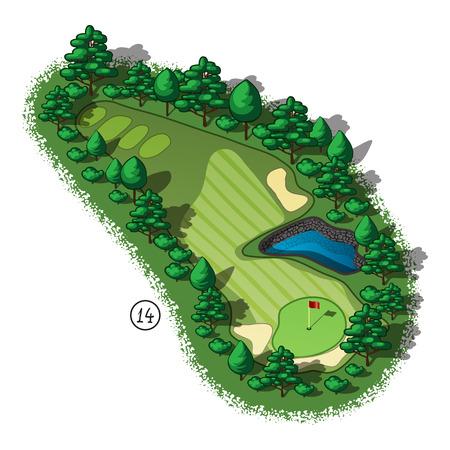 Golfbaan indeling met gevaar en bomen en planten rond het water