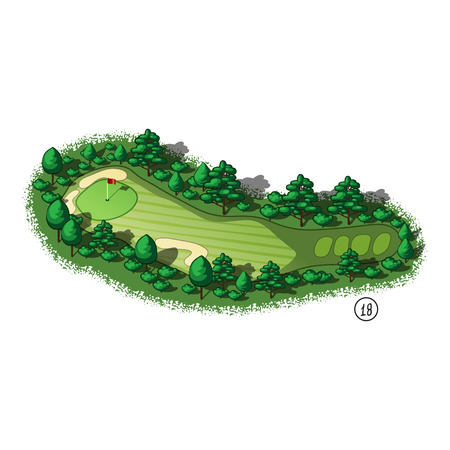 golf field: Golf course layout with trees and plants around Illustration