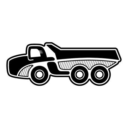 heavy duty: Articulated dump truck. Icon of an all wheel drive articulated dump truck. Isolated vector
