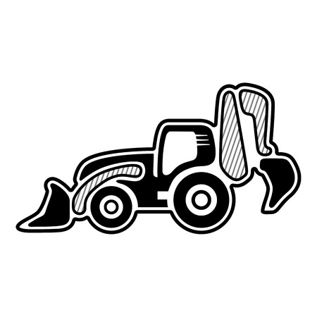 dozer: Loader. Icon of backhoe loader. Isolated vector