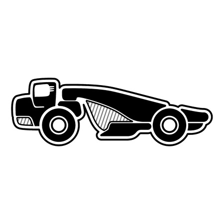 scraper: Scraper. Wheel tractor scraper. Icon of scraper. Isolated vector