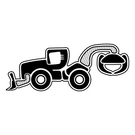 heavy duty: Skidder. Forest machinery. Icon of modern grapple skidder. Isolated vector Illustration