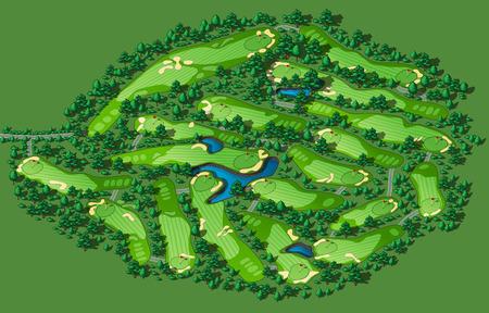 arquitecto: Diseño del campo de golf con banderas árboles plantas obstáculos de agua. Mapa vectorial isométrica ilustración