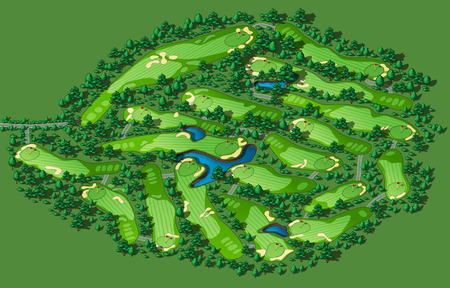 putting green: Golf course layout with flags trees plants water hazards. Vector map isometric illustration