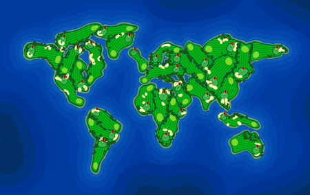 Golf course background vector stylized in earth map. Abstract simple golf layout