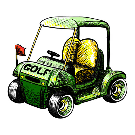 gasoline powered: Abstract isolated vector golf cart. Line color vector sketch