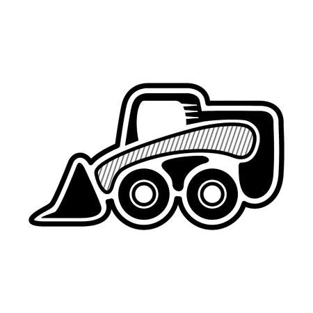 skid: Skid steer wheel loader. Front mini loader. Icon of skid steer. Isolated vector