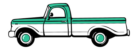 pickup: Pickup truck. Classic truck. Isolated vector illustration
