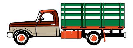 coachwork: Pickup truck. Classic truck. Isolated vector illustration