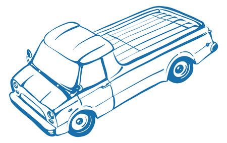 camioneta pick up: Camioneta. Carro cl�sico. Ilustraci�n vectorial aislado