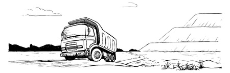 heavy duty: Dump truck. Tipper black and white sketch Illustration