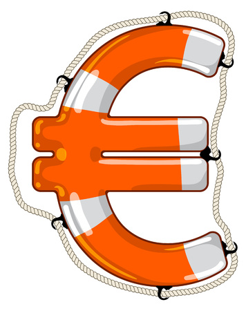 regain: Vector lifebuoy in the shape of a Euro sign is a symbol of economy saving by investment fund to provide economy growth