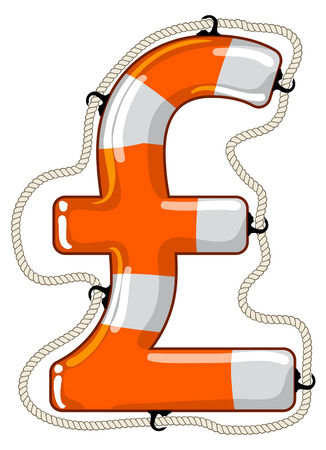 regain: Vector lifebuoy in the shape of a Pound sterling sign is a symbol of economy saving by investment fund to provide economy growth