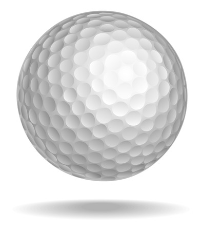 Golf ball vector illustration. White ball with shadow