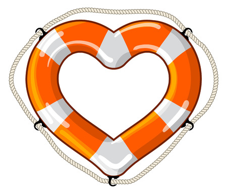 Vector lifebuoy in the shape of a heart sign is a symbol of care, love, feelings Vector