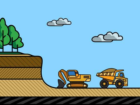 Excavator load the dump truck. Removal of the overburden Vector