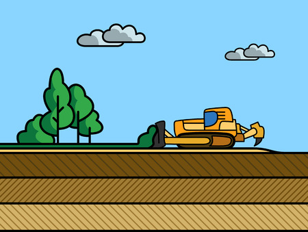 dredge to dig: Dozer removal of the top ground layer vector color illustration in simple spot color