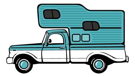 pickup truck: Classic retro camper shell on pickup truck