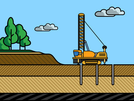 earth mover: Mining rotary drill vector color illustration in simple spot color Illustration