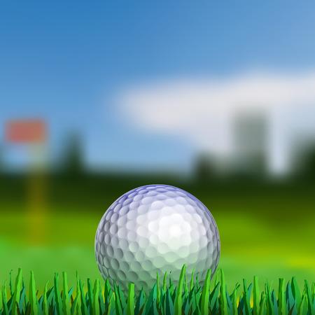 Golfbal op gras met blured fairway op de achtergrond Stock Illustratie