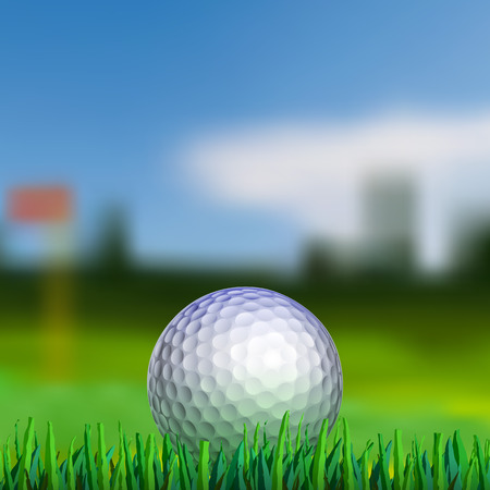 Golf ball on grass with blured fairway on background Vettoriali