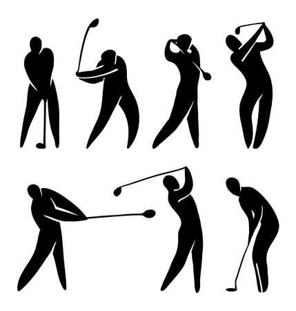 golfer: Golf player vector icon set silhouette black on white. Abstract player in gameplay