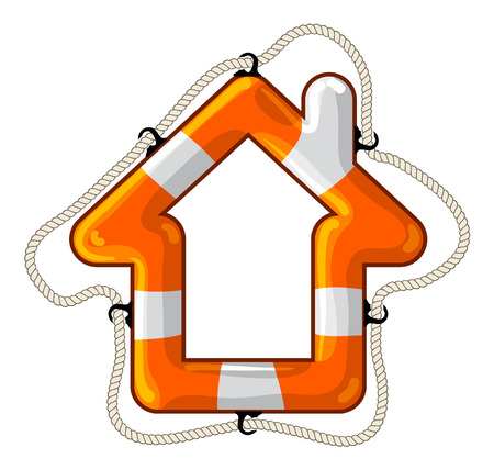 lifeline: Vector lifebuoy in the shape of a house symbol