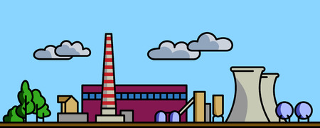 electric generating plant: Power station vector background illustration with simple spot colors
