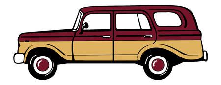coachwork: Classic retro station wagon. Isolated vector illustration