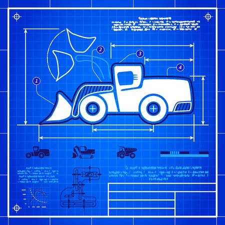 cargador frontal: Frente s�mbolo cargadora de ruedas estilizado dibujo t�cnico anteproyecto. S�mbolo blanco sobre fondo azul rejilla