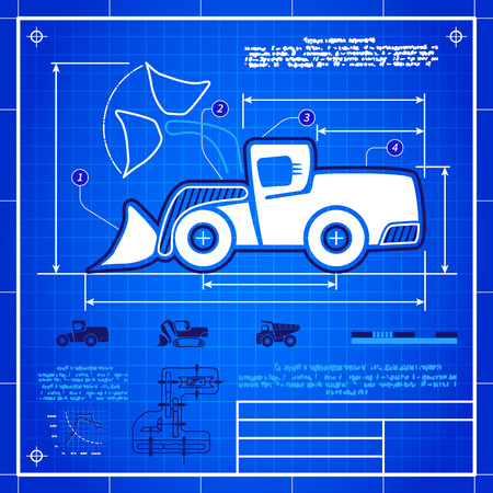 earth mover: Front wheel loader symbol stylized blueprint technical drawing. White symbol on blue grid background