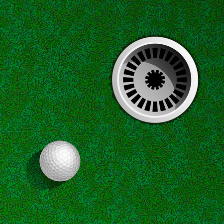 golf hole: Golf Hole with Ball Top View