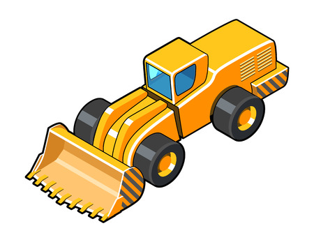 dredge to dig: Classic front loader isometric view symbol. Color vector illustration Illustration
