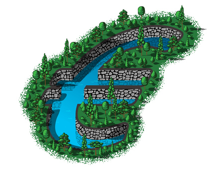 reservoir: Water reservoir in the shape of a euro sign
