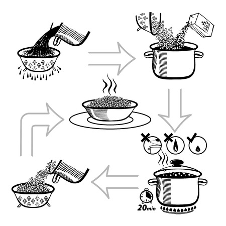 Cooking infographics. Step by step recipe infographic for cooking rice. Vector black and white illustration