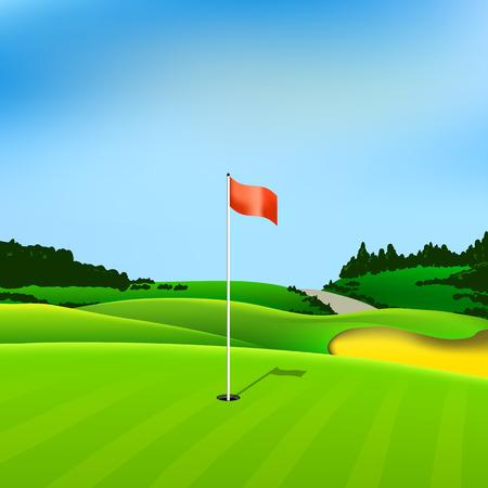 suolo: Foro di golf vettoriale tee verde sfondo illustrazione con bandiera e alberi Vettoriali