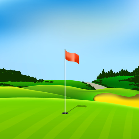golf field: Golf hole vector green tee background illustration with flag and trees