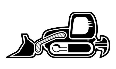 mini loader: Classic dozer symbol. Isolated tracked loader bulldozer black icon