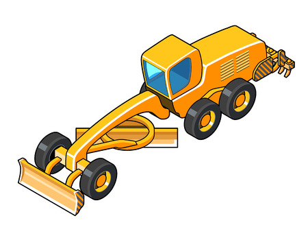 road grader: Motor grader vector illustration. Isolated isometric view icon