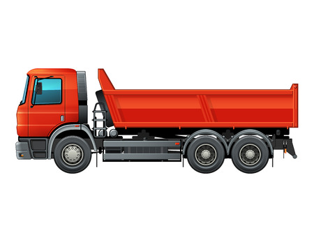 Lorry side view isolated vector color illustration. Red dumper truck. Easy to recolor cab, tire and parts