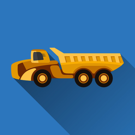 earth mover: Articulated dump truck flat style icon with shadow